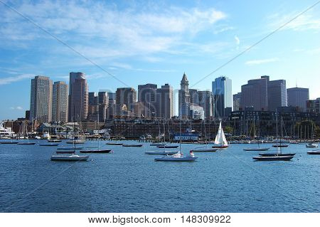 Boston Skyline and Custom House from East Boston, Massachusetts, USA