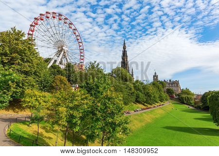 Princes Street Gardens In Edinburgh, Scotland
