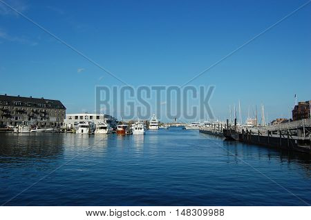 Boston Long Wharf at summer, Massachusetts, USA