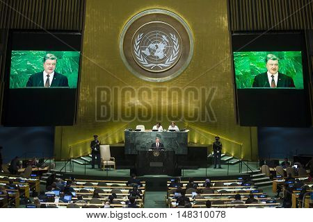 President Of Ukraine Petro Poroshenko During On Un General Assembly