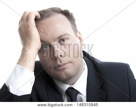 portrait of sad businessman men on a white background