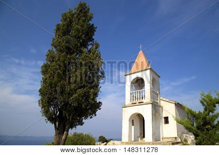 Small village church on the top of the hill Lady of Loreto Pasman Island Croatia