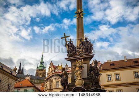 Holy Trinity Column at Lesser Town Square (Malostranske namesti). Prague Czech Republic.