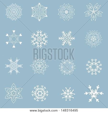 Set of beautiful different snowflakes. White ornate snowflakes on blue background. Christmas snowflakes. New year snowflakes set.