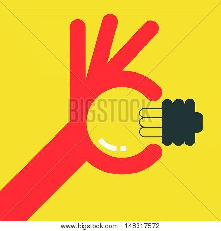 Light Bulb Idea With Ok Hand