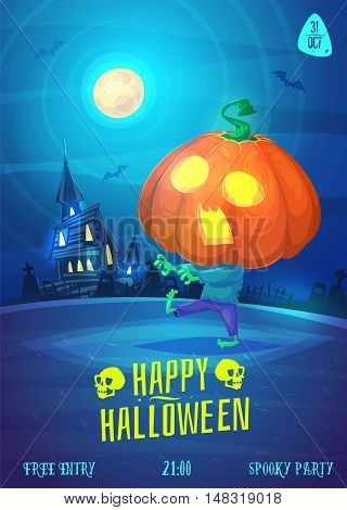 Halloween illustration pumpkin zombie goes through the cemetery. Vector set of happy halloween vintage stock illustration.