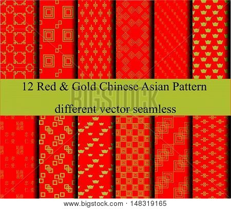 12 Red and Gold chinese Asian different vector seamless patterns. Endless texture can use for pattern fills web page background surface textures