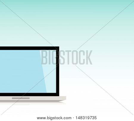 Minimal Laptop isolated front side. Flat design for business financial marketing banking advertising commercial event in minimal concept cartoon illustration.