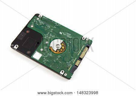 Internal Computer Hard Drive From A Lap Top On White.