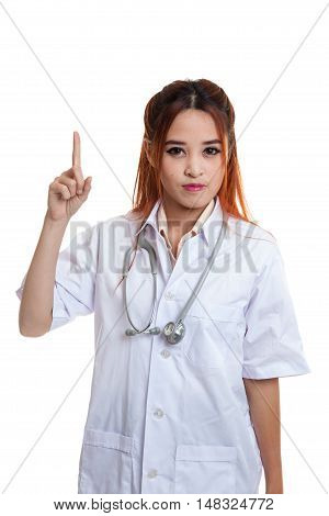 Asian Young Female Doctor Point Up.