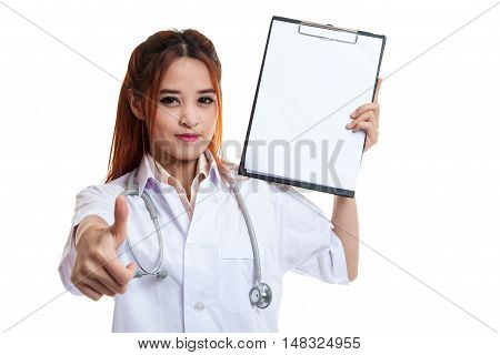 Young Asian Female Doctor Thumbs Up With A Blank Clipboard.