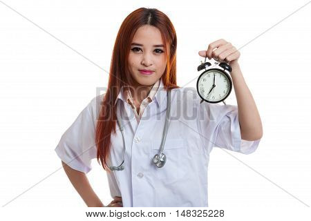 Young Asian Female Doctor Happy Show A Clock.