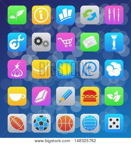 illustration of various ios 7 style mobile app icons
