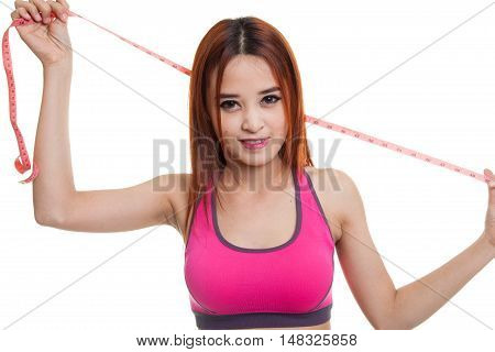 Beautiful Asian Healthy Girl With Measuring Tape.