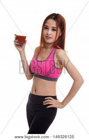 Beautiful Healthy Asian Girl With Tomato Juice.