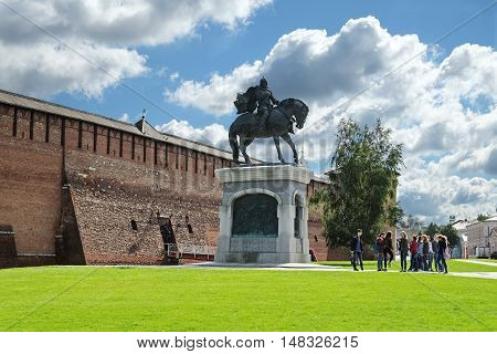 KOLOMNA RUSSIA - AUGUST 26 2016: Monument to St. Prince Dmitry in town Kolomna