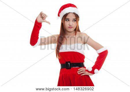 Asian Christmas Santa Claus Girl  Thumbs Down.