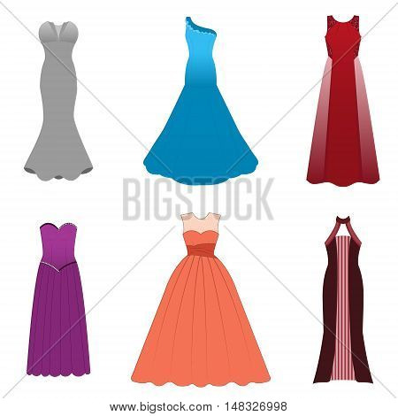 Fashionable dresses for graduation ball party soiree cocktail. Vector illustration on a white background