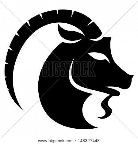 Illustration of Black Capricorn Zodiac Star Sign isolated on a white background