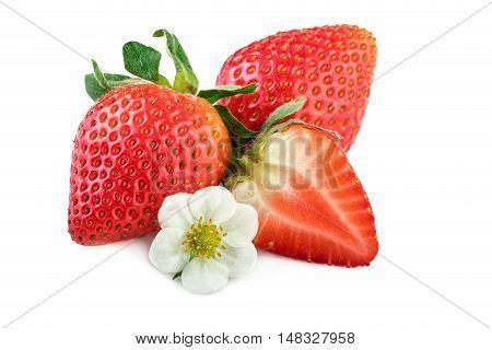 Ripe strawberry isolated on white. Strawberry closeup.