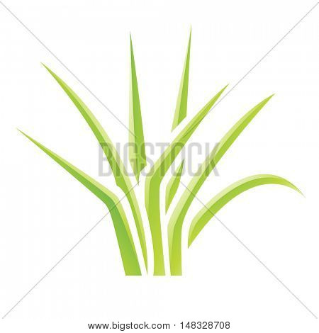 Illustration of Green Glossy Grass Icon isolated on a white background