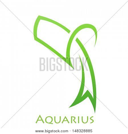 Illustration of Simplistic Lines Aquarius Zodiac Star Sign isolated on a white background