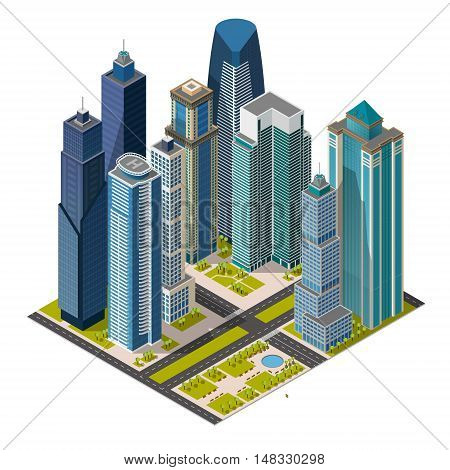 Isometric city, megapolis concept office buildings, skyscraper, park, street. Vector 3d top view