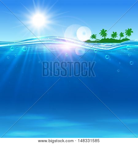Summer travel vector poster. Ocean, tropical palm island, beach, shining sun, water waves. Placard for travel advertisment, agency, flyer, greeting card, hotel resort