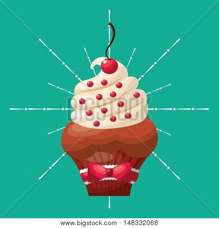 baked goods sweet cupcake vector illustration design