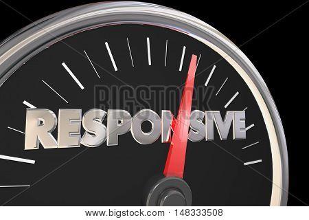 Responsive Speedometer Fast Service Attention 3d Illustration