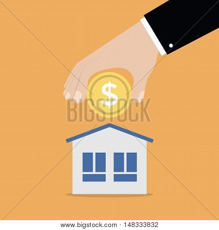 Businessman hand putting coin into a money box, saving money for home. vector