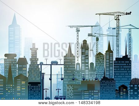 City and busy roads with traffic and cranes, City background