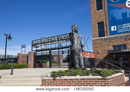 COLUMBUS, OHIO - SEPTEMBER 13, 2016:  Huntington Park in Columbus, Ohio is the home of the Columbus Clippers minor league baseball team.