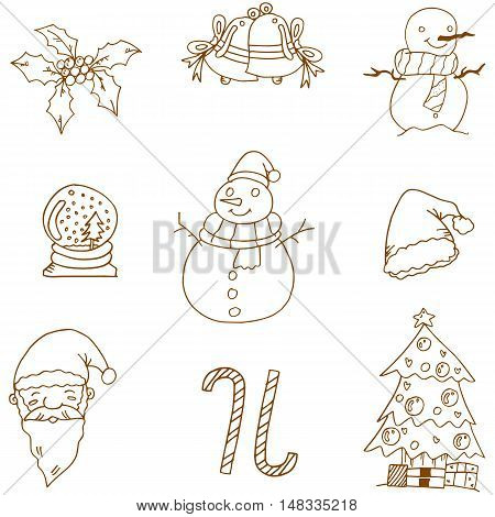 Flat christmas doodles vector art stock collection