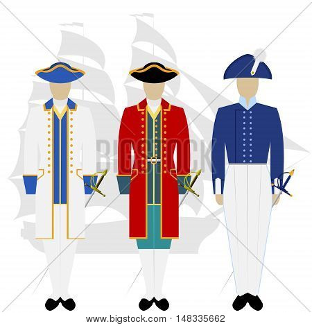 Military Russian sailors in uniform against the background of warships. The illustration on a white background.