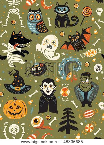Cute cartoon Halloween seamless pattern with green background. Pumpkin, ghost, bat, candy and owl, cat, wolf, spider, skeleton. Can be used like pattern for wrapping paper, textile, greeting cards and party invitations