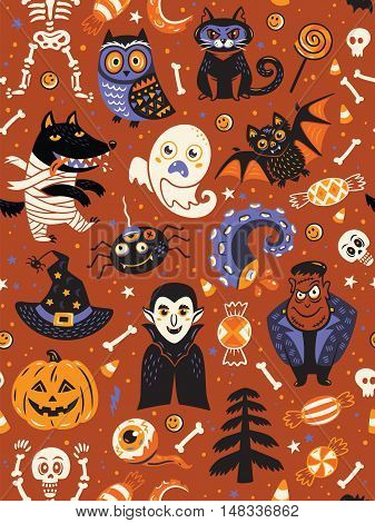 Cute cartoon Halloween seamless pattern with dark red background. Pumpkin, ghost, bat, candy and owl, cat, wolf, spider, skeleton. Can be used like pattern for wrapping paper, textile, greeting cards and party invitations