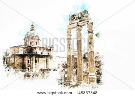 Ruins of the Roman Forum in Rome, Italy. Rome is the 3rd most visited city in the European Union. Vintage painting, background illustration, beautiful picture, travel texture