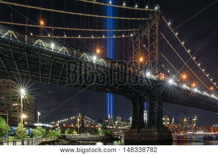 Tribute Lights seen from Brooklyn Bridge Park in New York City