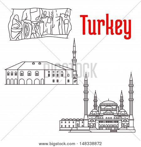 Historic sightseeings and buildings of Turkey. Vector detailed sketch icons of Kocatepe Mosque, Haci Bayram Camii, Kaymakli Underground City. Turkish architecture symbols for souvenirs, postcards