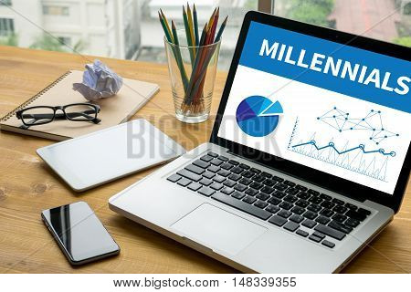 MILLENNIALS Laptop on table. Warm tone businessman working poster