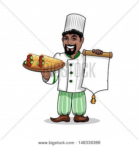 Arabian cuisine icon. Arabian Chef in uniform holding menu card template and kebab rolled in pita bread. Vector emblem for restaurant signboard, menu, decoration