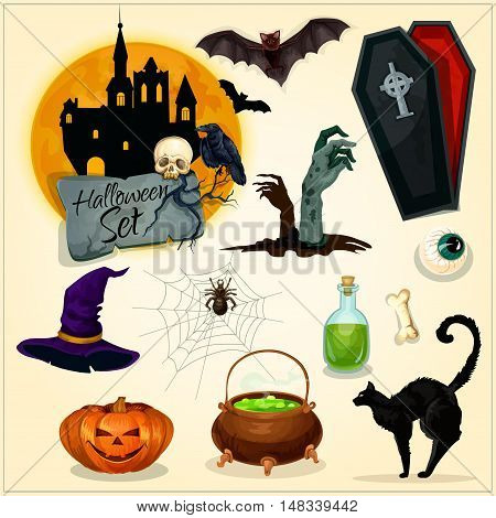 Horror decoration elements for Halloween design. Witch hat, magic cauldron, zombie hands on graveyard, haunted castle, vampire coffin, black cat and bats, creepy pumpkin lantern. Vector symbols and icons for greeting card, placard