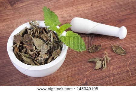 Fresh Green And Dried Lemon Balm With Mortar, Herbalism, Alternative Medicine