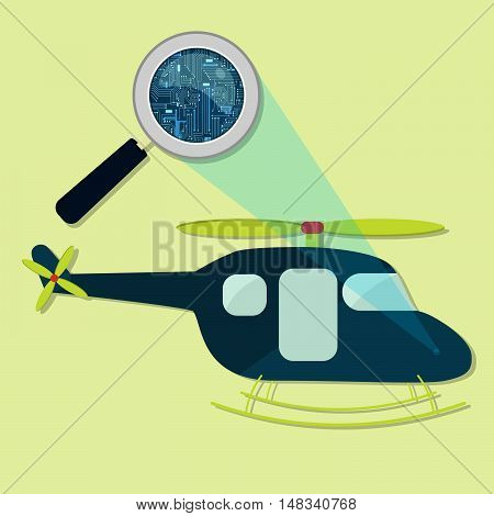Helicopter, Magnifying Glass And Electronics