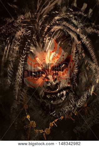 monster portrait showing war paint on face of horror characterม digital paintingม illustration