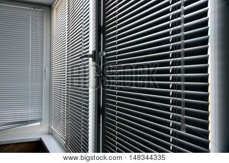Window plastic blinds to protect the shelter from the sun