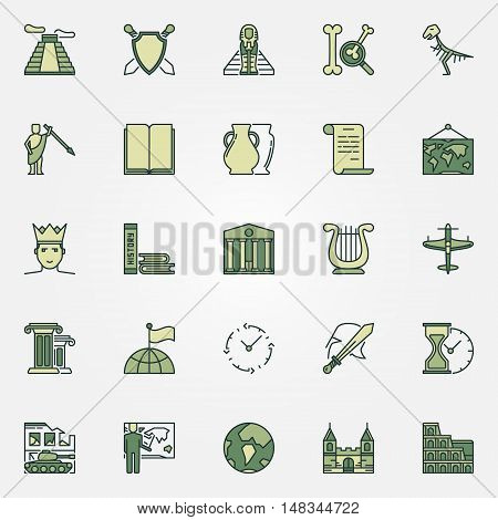 History colorful icons. Vector set of different history educational symbols