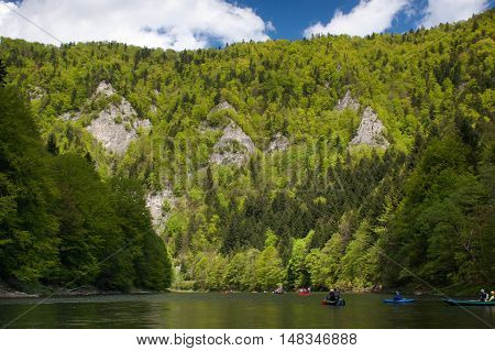 Rafting on the Dunajec in Pieniny National Park in Slovakia and Poland.