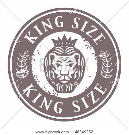 Grunge rubber stamp with Lion head and the words King Size written inside the stamp